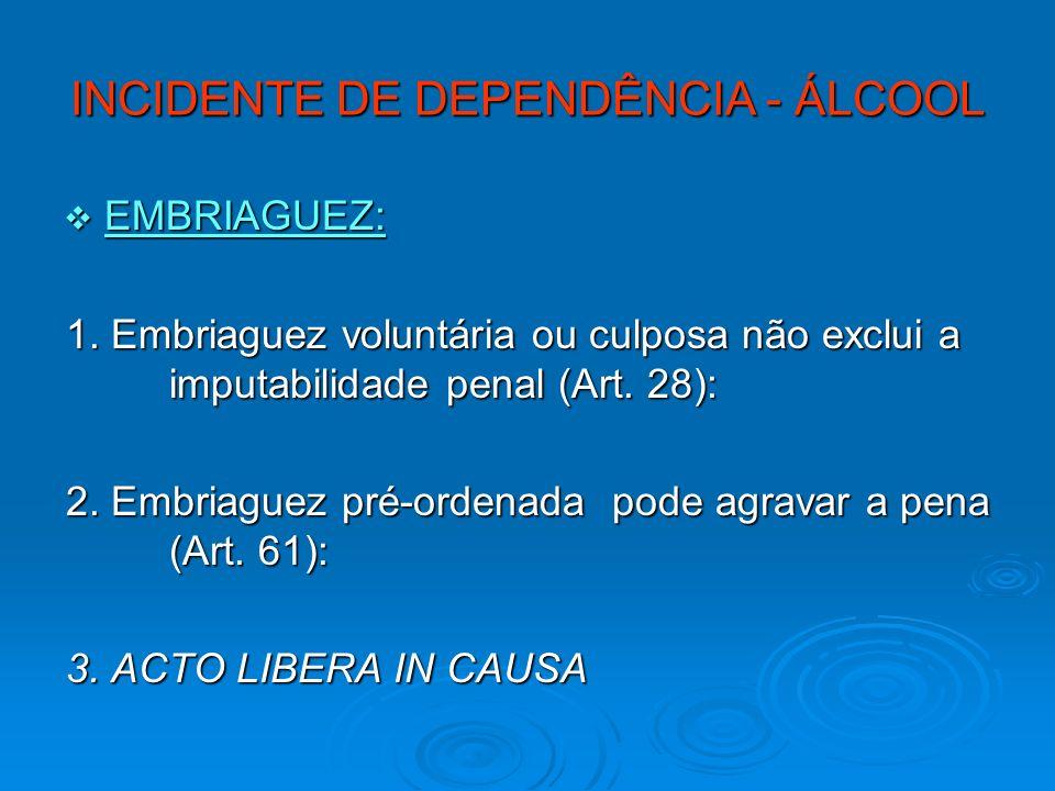 INCIDENTE DE DEPENDÊNCIA - ÁLCOOL EMBRIAGUEZ: EMBRIAGUEZ: 1. Embriaguez voluntária ou culposa não exclui a imputabilidade penal (Art. 28): 2. Embriagu