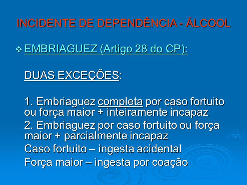INCIDENTE DE DEPENDÊNCIA - ÁLCOOL EMBRIAGUEZ (Artigo 28 do CP): EMBRIAGUEZ (Artigo 28 do CP): DUAS EXCEÇÕES: DUAS EXCEÇÕES: 1. Embriaguez completa por