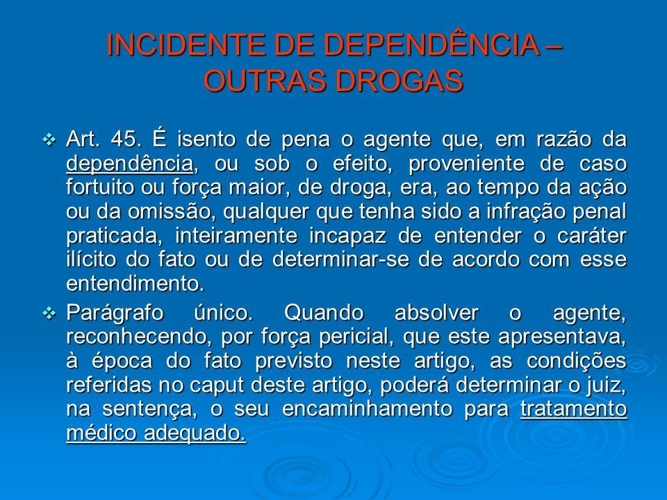 INCIDENTE DE DEPENDÊNCIA – OUTRAS DROGAS Art. 45. É isento de pena o agente que, em razão da dependência, ou sob o efeito, proveniente de caso fortuit