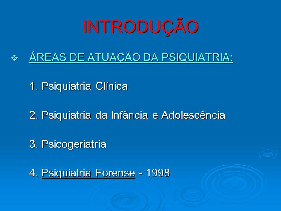 INTRODUÇÃO ÁREAS DE ATUAÇÃO DA PSIQUIATRIA: ÁREAS DE ATUAÇÃO DA PSIQUIATRIA: 1. Psiquiatria Clínica 2. Psiquiatria da Infância e Adolescência 3. Psico