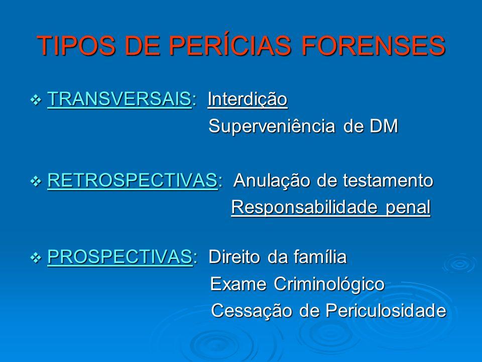 TIPOS DE PERÍCIAS FORENSES TRANSVERSAIS: Interdição TRANSVERSAIS: Interdição Superveniência de DM Superveniência de DM RETROSPECTIVAS: Anulação de tes
