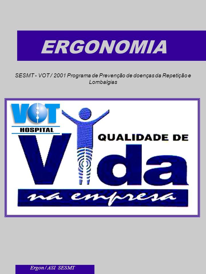 ERGONOMIA SESMT - VOT / 2001 Programa de Prevenção de doenças da Repetição e Lombalgias Ergon / ASI SESMT