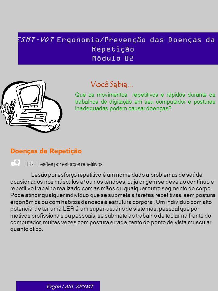 SESMT–VOT Ergonomia/Prevenção das Doenças da Repetição Módulo 02 Você Sabia... Que os movimentos repetitivos e rápidos durante os trabalhos de digitaç