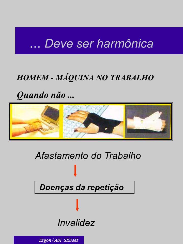 ... Deve ser harmônica HOMEM - MÁQUINA NO TRABALHO Quando não... Afastamento do Trabalho Invalidez Doenças da repetição Ergon / ASI SESMT