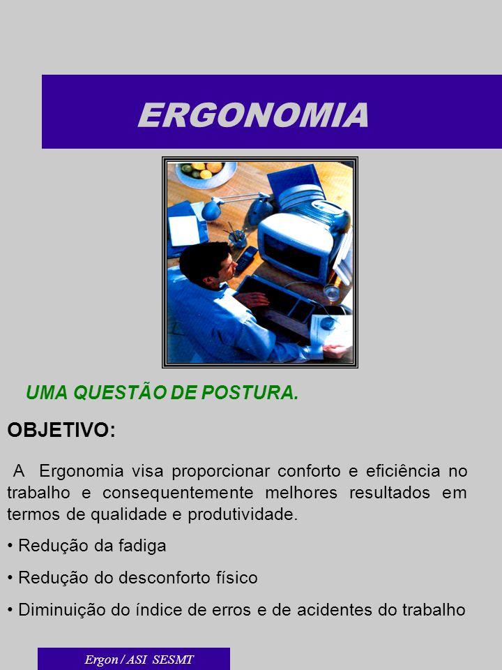 ERGONOMIA UMA QUESTÃO DE POSTURA. OBJETIVO: A Ergonomia visa proporcionar conforto e eficiência no trabalho e consequentemente melhores resultados em