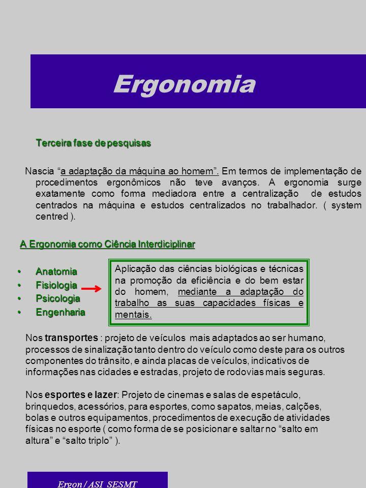 Ergonomia Terceira fase de pesquisas Nascia a adaptação da máquina ao homem. Em termos de implementação de procedimentos ergonômicos não teve avanços.