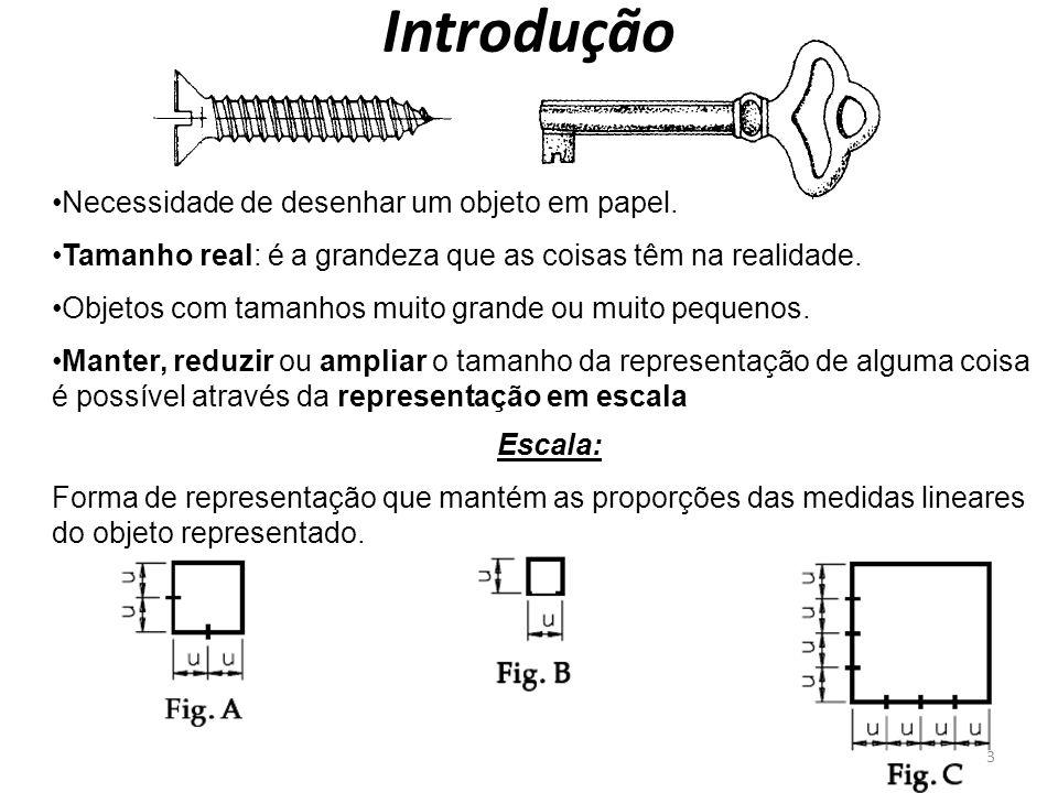 Introdução Necessidade de desenhar um objeto em papel. Tamanho real: é a grandeza que as coisas têm na realidade. Objetos com tamanhos muito grande ou