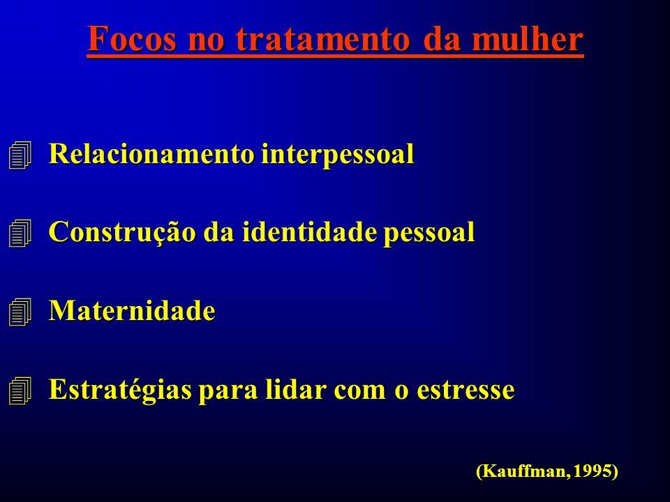 Focos no tratamento da mulher 4 Relacionamento interpessoal 4 Construção da identidade pessoal 4 Maternidade 4 Estratégias para lidar com o estresse (