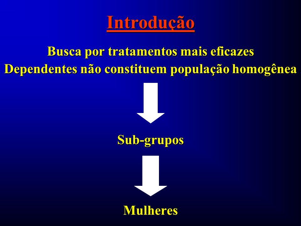 Introdução Busca por tratamentos mais eficazes Dependentes não constituem população homogênea Sub-gruposMulheres