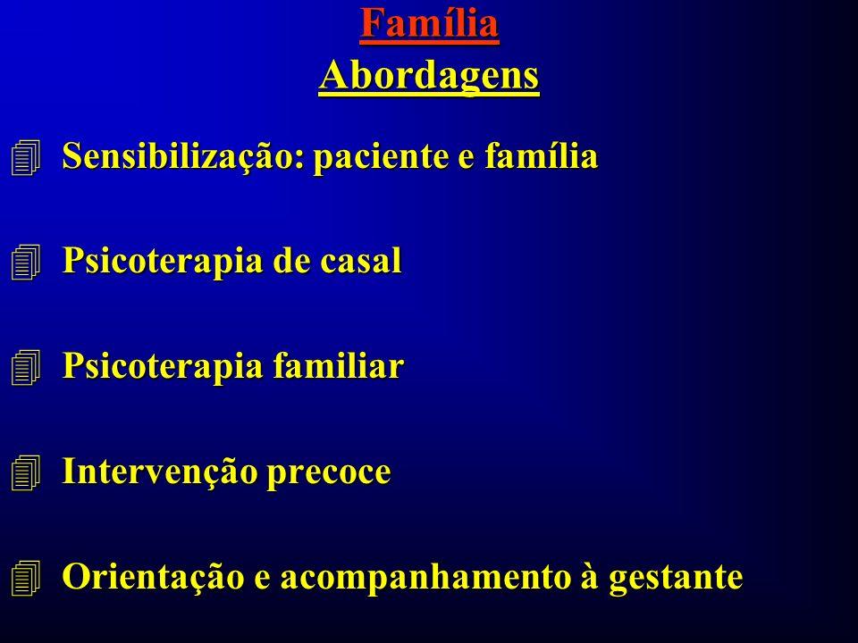 Família Abordagens 4 Sensibilização: paciente e família 4 Psicoterapia de casal 4 Psicoterapia familiar 4 Intervenção precoce 4 Orientação e acompanha