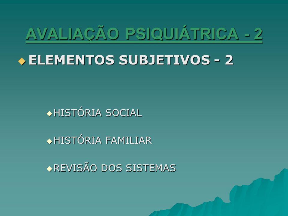AVALIAÇÃO PSIQUIÁTRICA - 2 ELEMENTOS SUBJETIVOS - 2 ELEMENTOS SUBJETIVOS - 2 HISTÓRIA SOCIAL HISTÓRIA SOCIAL HISTÓRIA FAMILIAR HISTÓRIA FAMILIAR REVIS