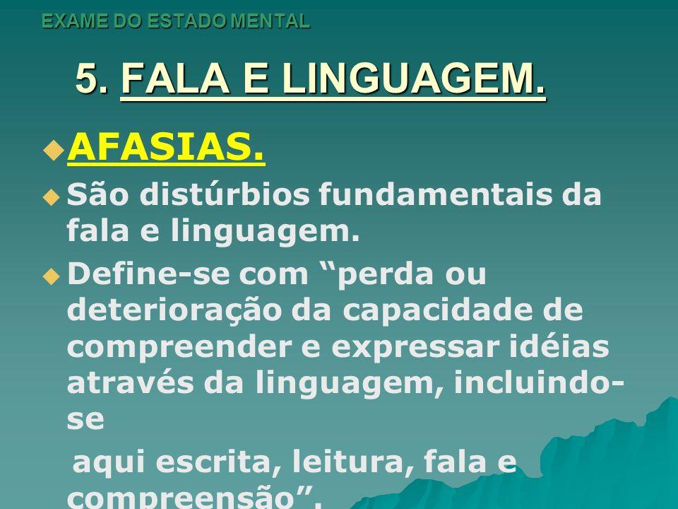 EXAME DO ESTADO MENTAL 5. FALA E LINGUAGEM. AFASIAS. São distúrbios fundamentais da fala e linguagem. Define-se com perda ou deterioração da capacidad