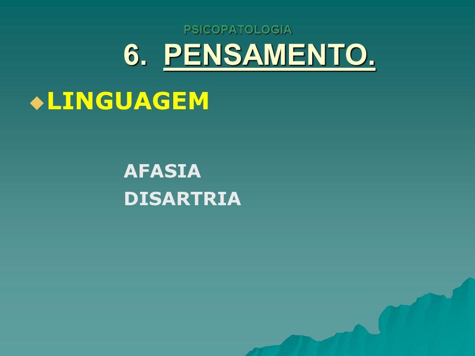 PSICOPATOLOGIA 6. PENSAMENTO. LINGUAGEM AFASIA DISARTRIA