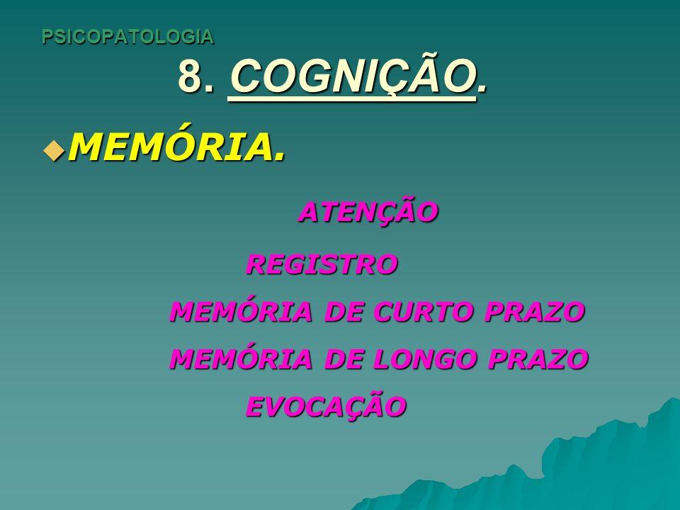 PSICOPATOLOGIA 8. COGNIÇÃO. MEMÓRIA. MEMÓRIA. ATENÇÃO ATENÇÃOREGISTRO MEMÓRIA DE CURTO PRAZO MEMÓRIA DE CURTO PRAZO MEMÓRIA DE LONGO PRAZO MEMÓRIA DE