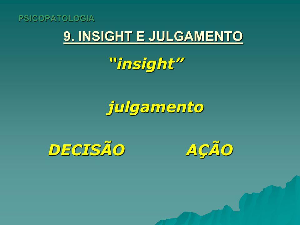 PSICOPATOLOGIA 9. INSIGHT E JULGAMENTO insightjulgamento DECISÃO AÇÃO