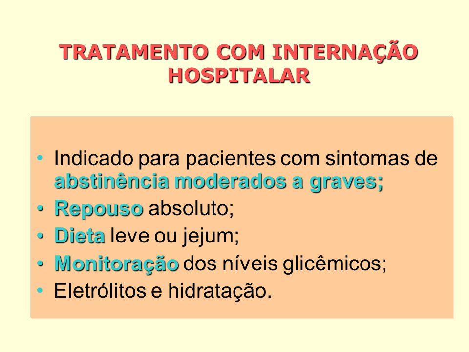 abstinência moderados a graves;Indicado para pacientes com sintomas de abstinência moderados a graves; RepousoRepouso absoluto; DietaDieta leve ou jejum; MonitoraçãoMonitoração dos níveis glicêmicos; Eletrólitos e hidratação.