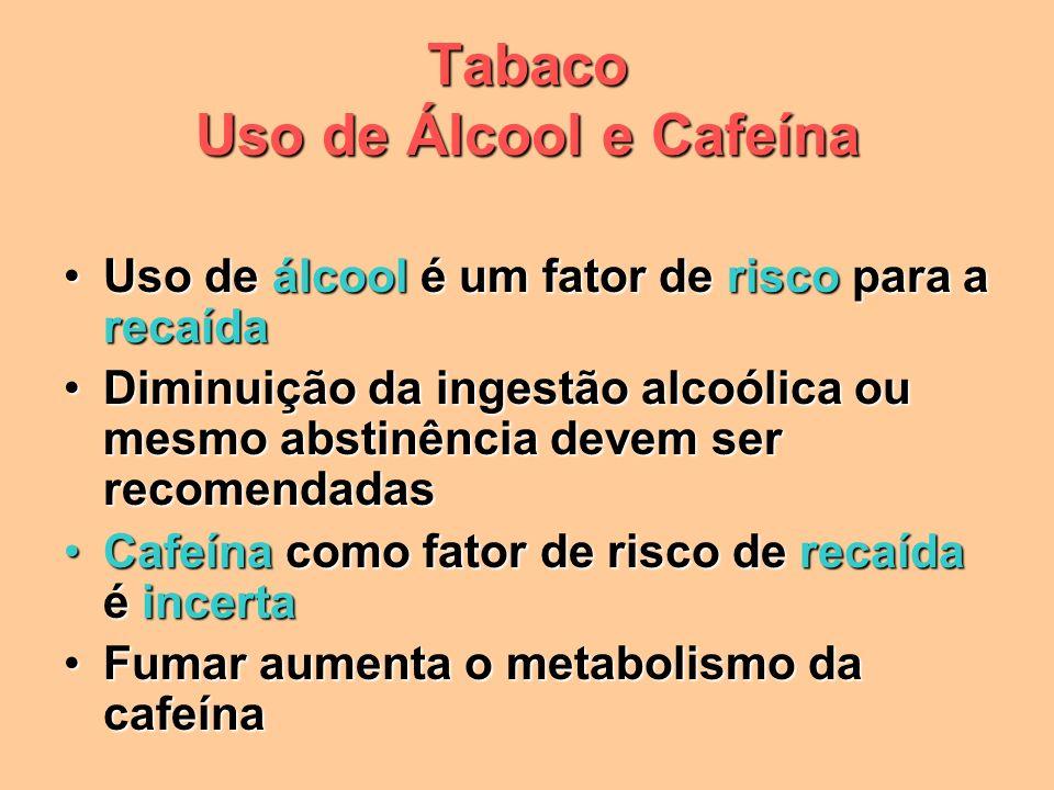 Tabaco Uso de Álcool e Cafeína Uso de álcool é um fator de risco para a recaídaUso de álcool é um fator de risco para a recaída Diminuição da ingestão alcoólica ou mesmo abstinência devem ser recomendadasDiminuição da ingestão alcoólica ou mesmo abstinência devem ser recomendadas Cafeína como fator de risco de recaída é incertaCafeína como fator de risco de recaída é incerta Fumar aumenta o metabolismo da cafeínaFumar aumenta o metabolismo da cafeína