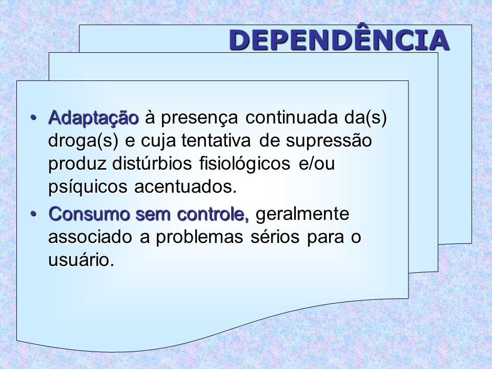 DEPENDÊNCIA Adaptação à presença continuada da(s) droga(s) e cuja tentativa de supressão produz distúrbios fisiológicos e/ou psíquicos acentuados.Adaptação à presença continuada da(s) droga(s) e cuja tentativa de supressão produz distúrbios fisiológicos e/ou psíquicos acentuados.