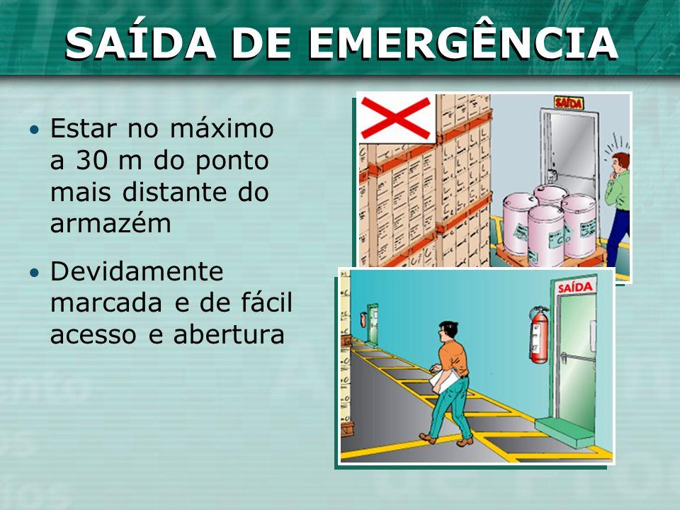 SAÍDA DE EMERGÊNCIA Estar no máximo a 30 m do ponto mais distante do armazém Devidamente marcada e de fácil acesso e abertura SAÍDA DE EMERGÊNCIA
