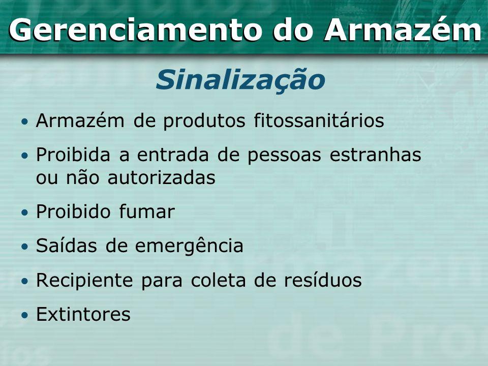 Armazém de produtos fitossanitários Proibida a entrada de pessoas estranhas ou não autorizadas Proibido fumar Saídas de emergência Recipiente para col