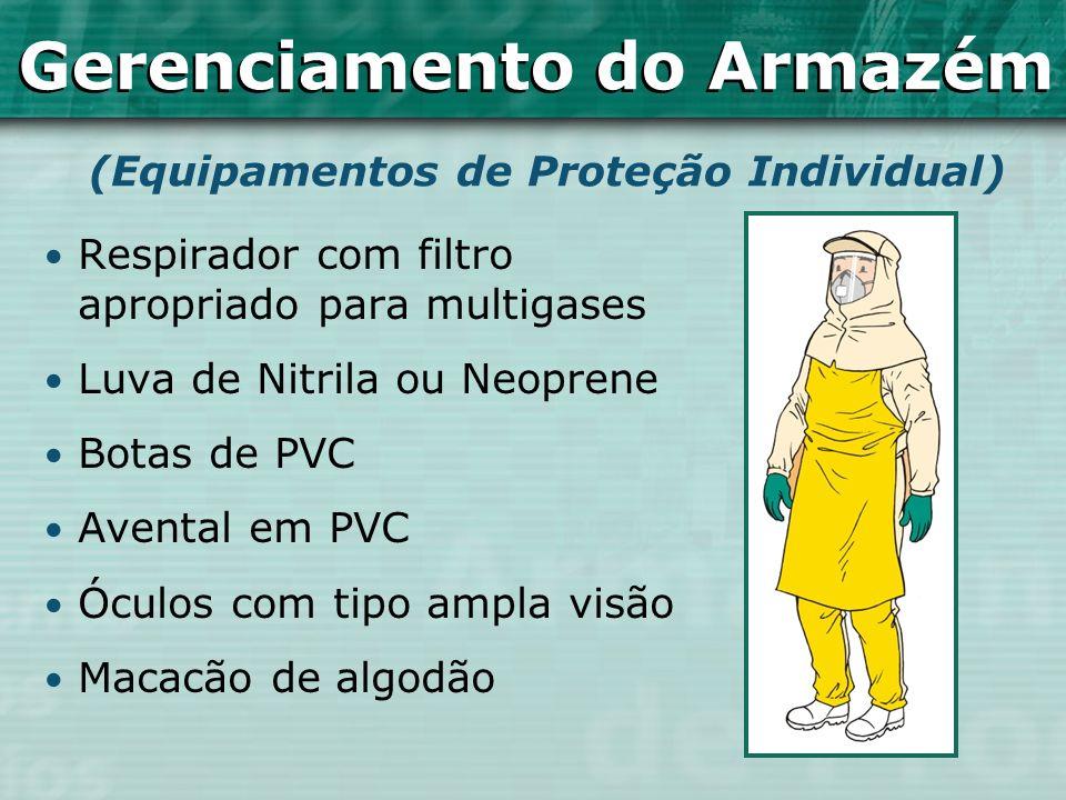 Respirador com filtro apropriado para multigases Luva de Nitrila ou Neoprene Botas de PVC Avental em PVC Óculos com tipo ampla visão Macacão de algodã