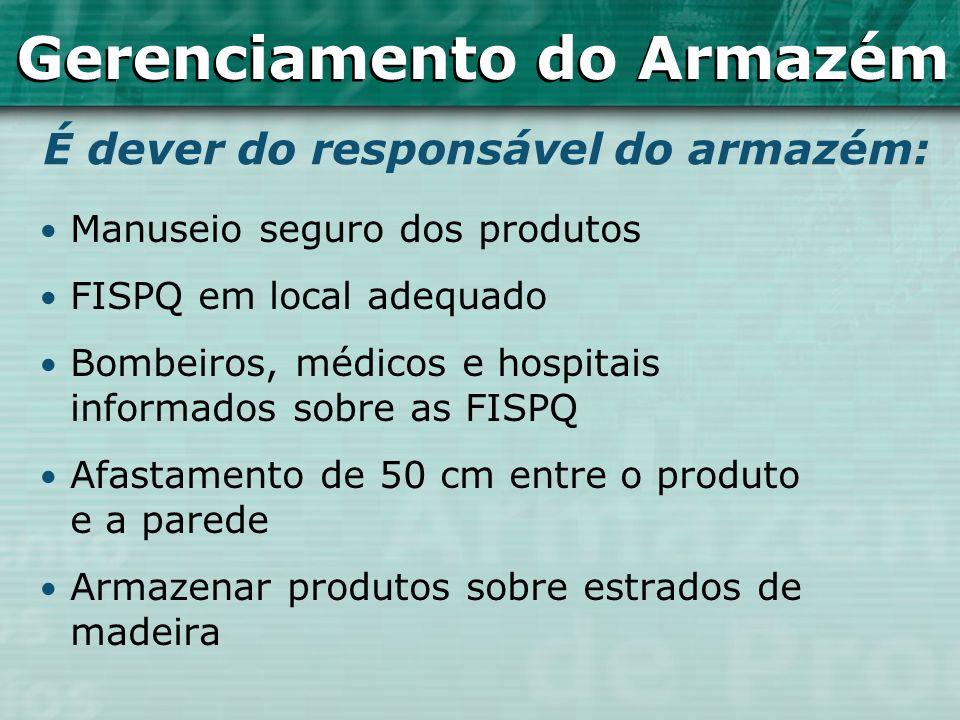 Manuseio seguro dos produtos FISPQ em local adequado Bombeiros, médicos e hospitais informados sobre as FISPQ Afastamento de 50 cm entre o produto e a