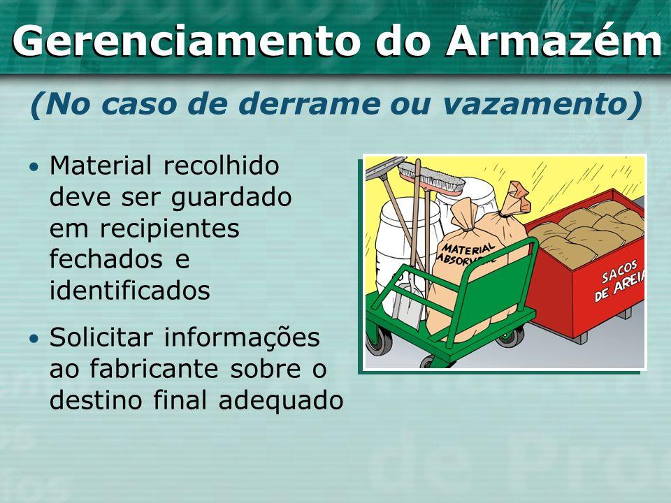 (No caso de derrame ou vazamento) Gerenciamento do Armazém Material recolhido deve ser guardado em recipientes fechados e identificados Solicitar info