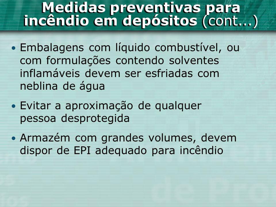 Embalagens com líquido combustível, ou com formulações contendo solventes inflamáveis devem ser esfriadas com neblina de água Evitar a aproximação de