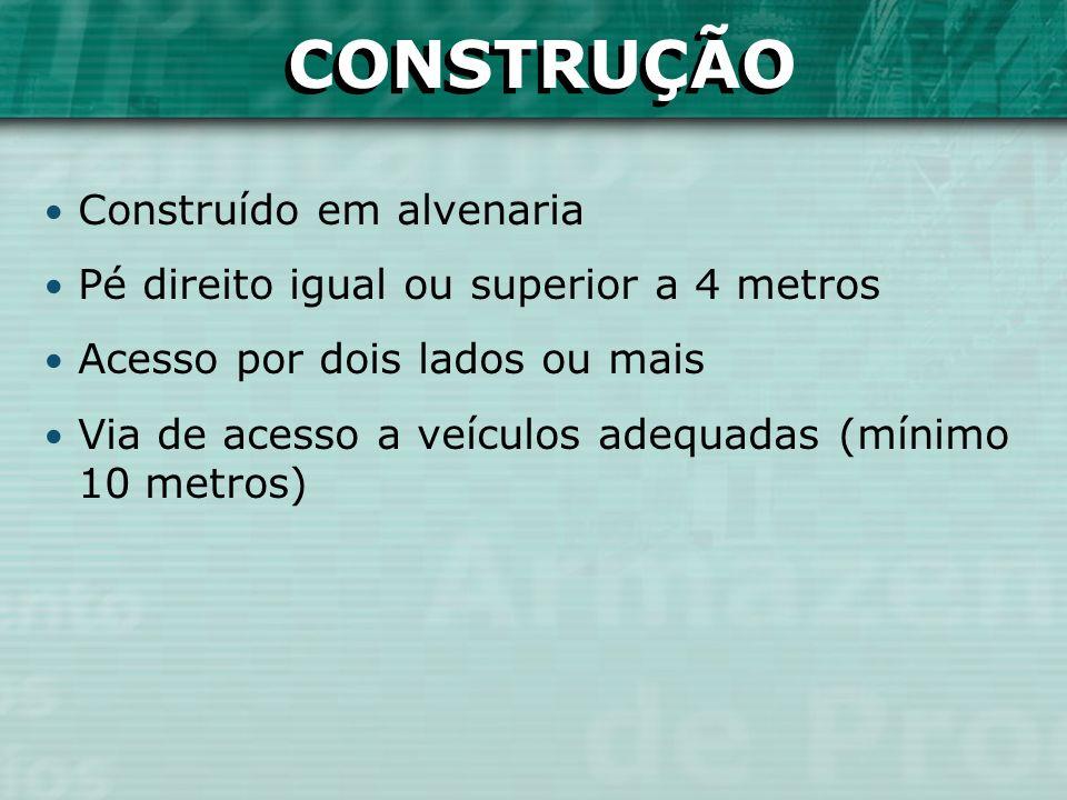CONSTRUÇÃO Construído em alvenaria Pé direito igual ou superior a 4 metros Acesso por dois lados ou mais Via de acesso a veículos adequadas (mínimo 10
