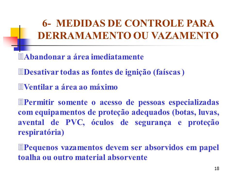 17 5- INFORMAÇÕES SOBRE TRANSPORTE Transportar somente produtos químicos identificados (com rótulos) ãObservar as recomendações para transporte de pes