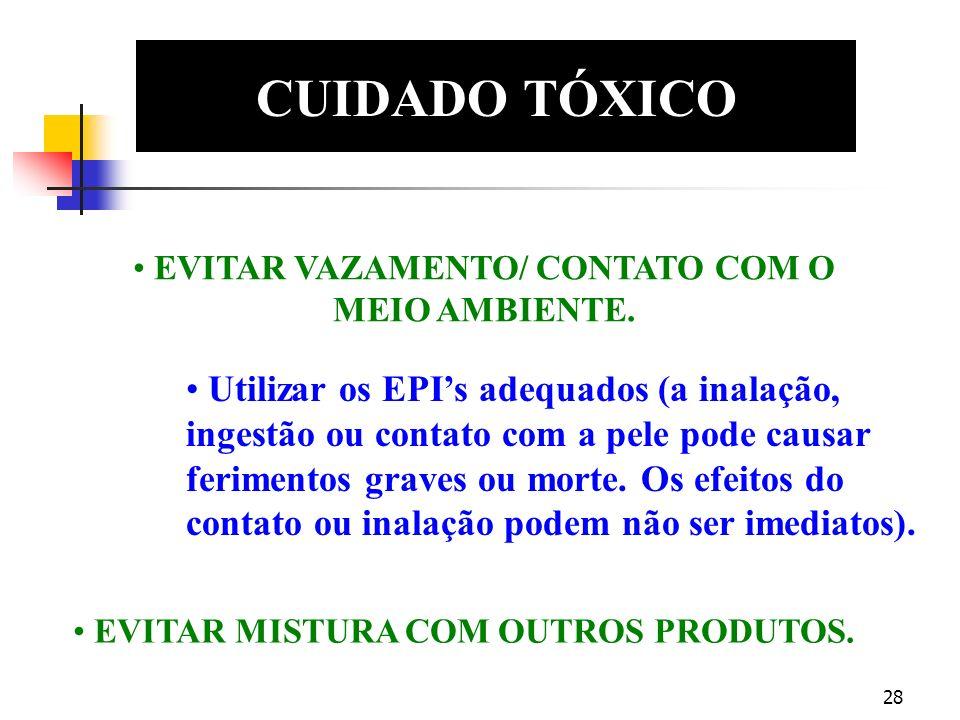 27 CUIDADO OXIDANTE EDS CUIDADO, PODE INCENDIAR MATERIAIS COMBUSTÍVEIS (Papel, madeira, óleos, graxas, etc.) Utilizar os EPIs adequados (o contato pod