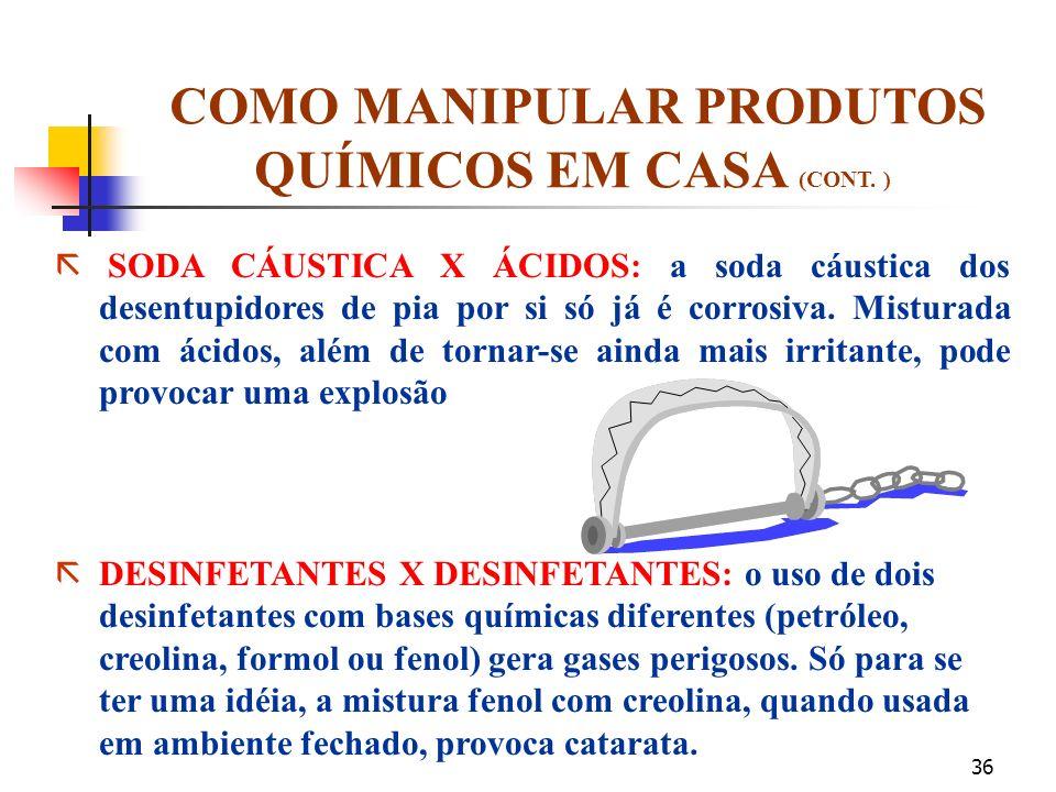 35 COMO MANIPULAR PRODUTOS QUÍMICOS EM CASA (CONT. ) ã INSETICIDA X INSETICIDA: a mistura de dois ou mais inseticidas de fato aumenta o poder de fogo