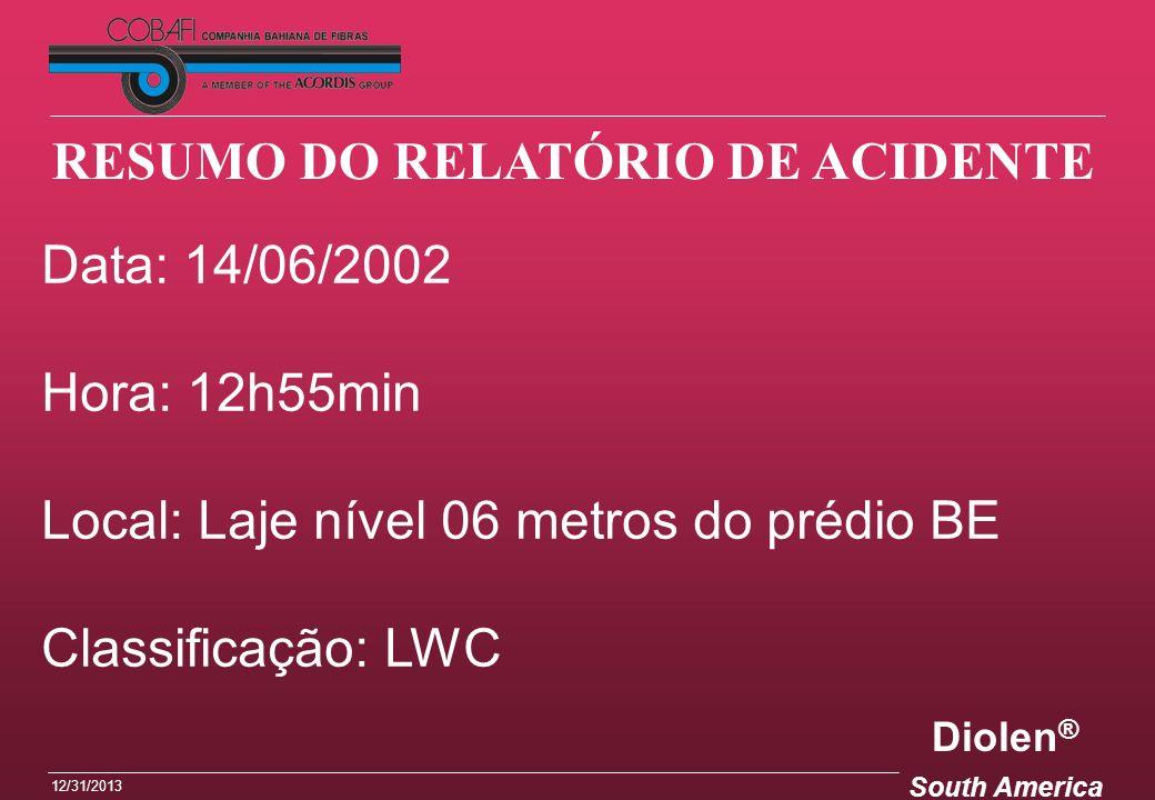 Diolen ® South America 12/31/2013 Data: 14/06/2002 Hora: 12h55min Local: Laje nível 06 metros do prédio BE Classificação: LWC RESUMO DO RELATÓRIO DE A