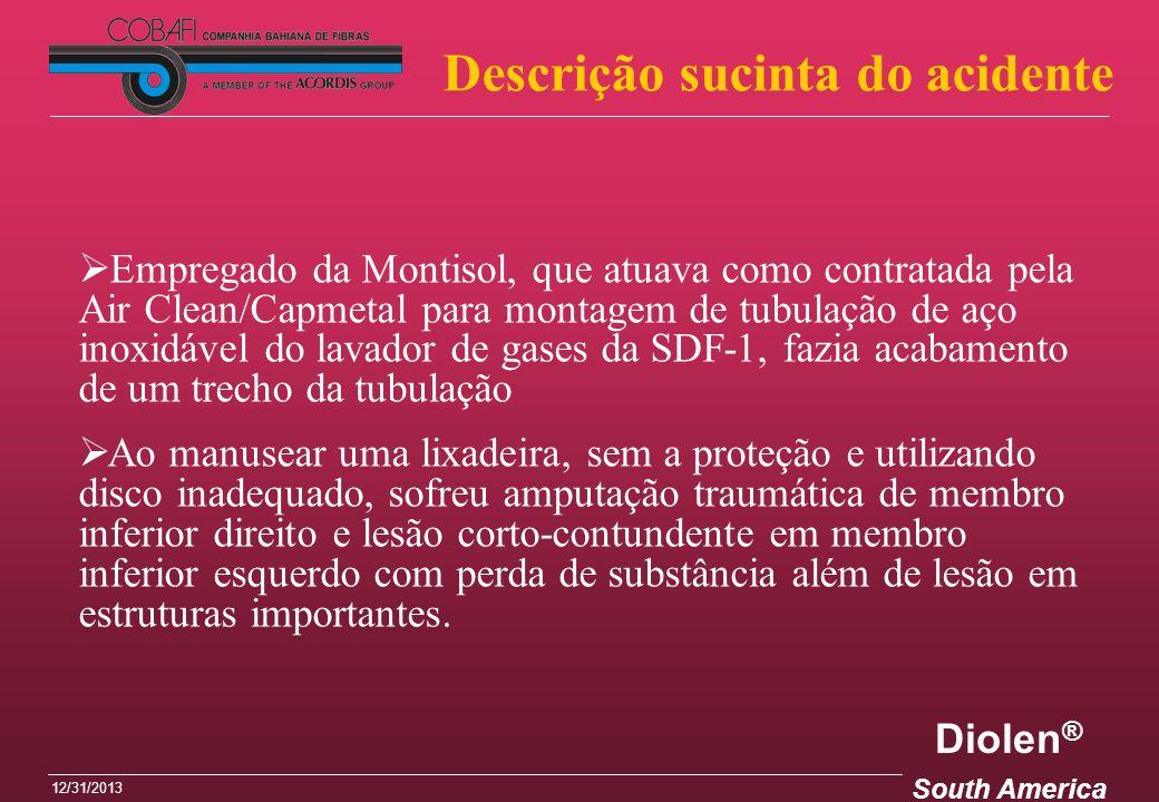 Diolen ® South America 12/31/2013 Empregado da Montisol, que atuava como contratada pela Air Clean/Capmetal para montagem de tubulação de aço inoxidáv