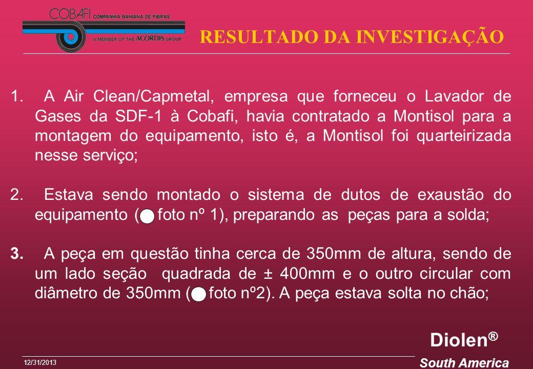 Diolen ® South America 12/31/2013 RESULTADO DA INVESTIGAÇÃO 1. A Air Clean/Capmetal, empresa que forneceu o Lavador de Gases da SDF-1 à Cobafi, havia