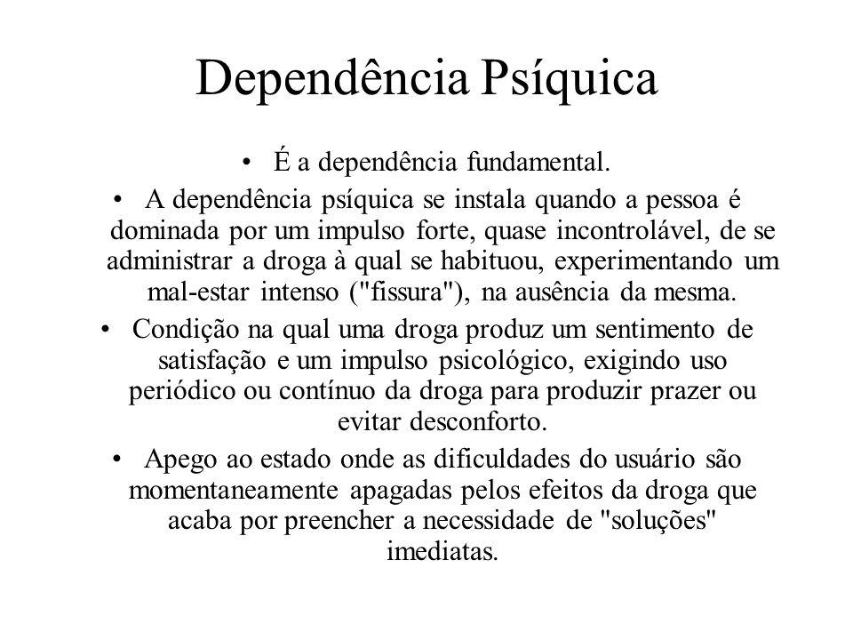 Dependência Física Quando a droga é utilizada em quantidades e freqüências elevadas, o organismo se defende estabelecendo um novo equilíbrio em seu fu