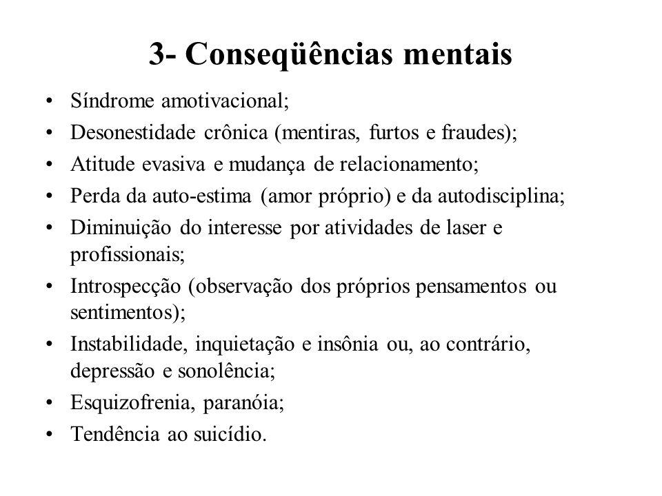 2- Conseqüências sócio-econômico-culturais Sobrecarga para hospitais e familiares; Inversão de valores éticos e morais; Atuação como desintegrador da