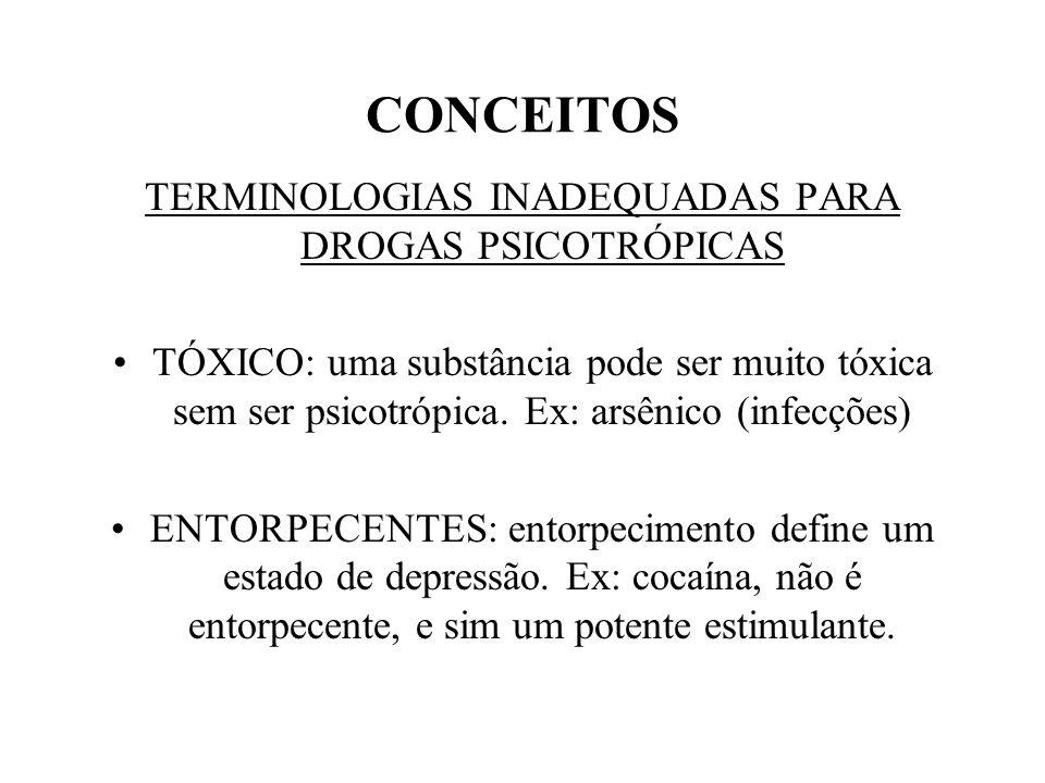 CONCEITOS TERMINOLOGIAS INADEQUADAS PARA DROGAS PSICOTRÓPICAS TÓXICO: uma substância pode ser muito tóxica sem ser psicotrópica.