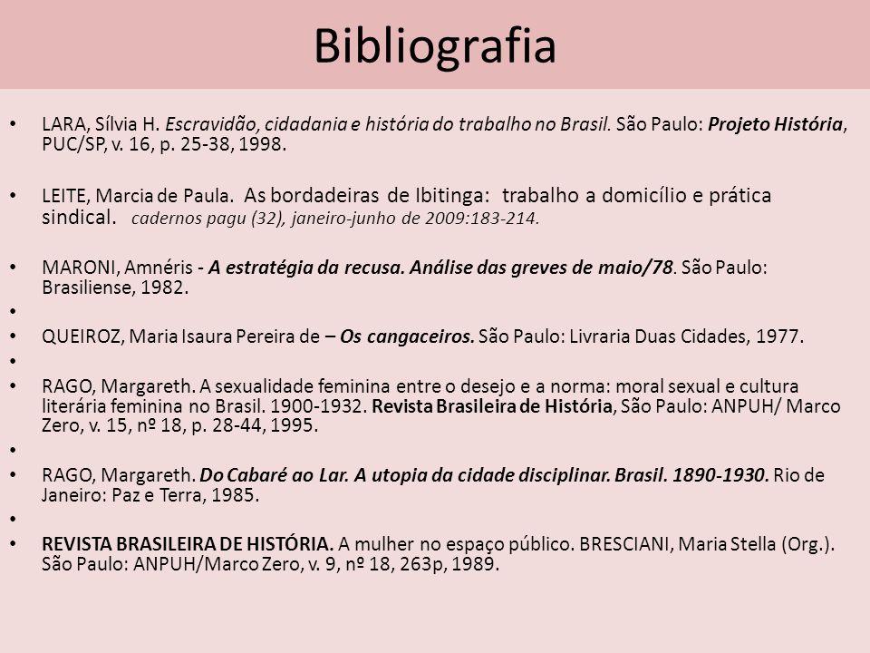 Bibliografia LARA, Sílvia H. Escravidão, cidadania e história do trabalho no Brasil. São Paulo: Projeto História, PUC/SP, v. 16, p. 25-38, 1998. LEITE