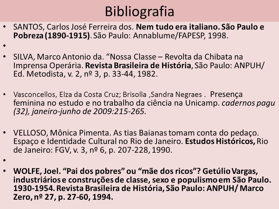 Bibliografia SANTOS, Carlos José Ferreira dos. Nem tudo era italiano. São Paulo e Pobreza (1890-1915). São Paulo: Annablume/FAPESP, 1998. SILVA, Marco
