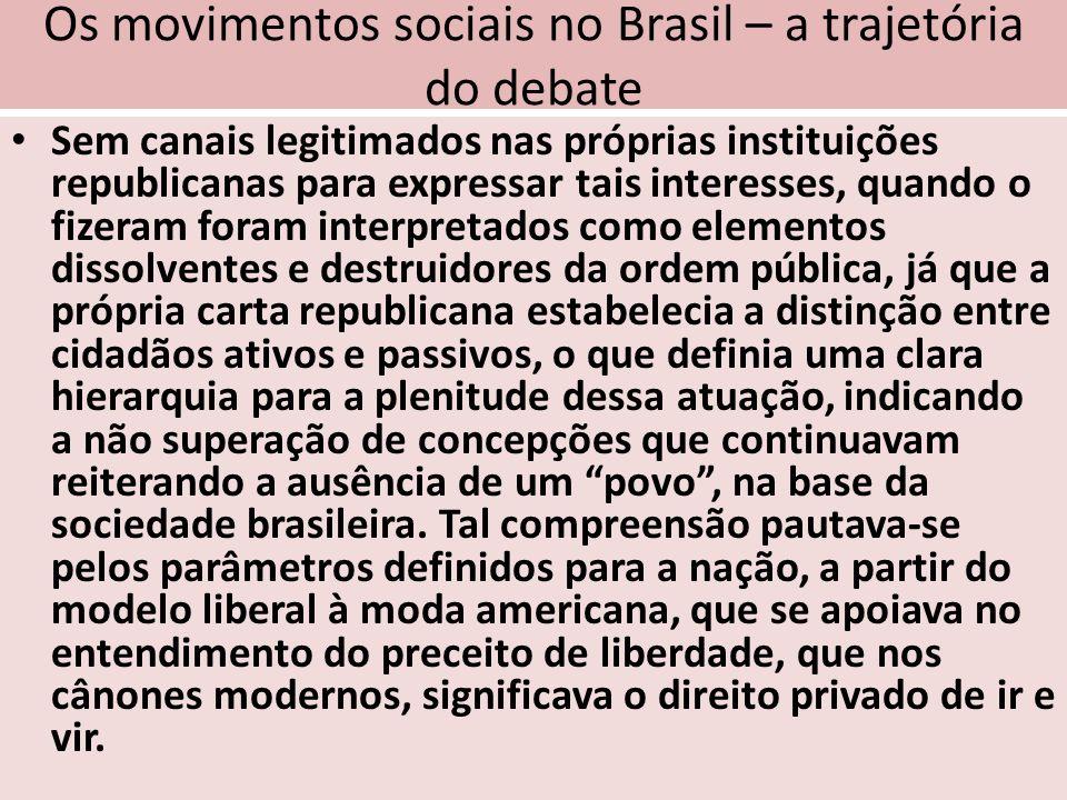 Os movimentos sociais no Brasil – a trajetória do debate Sem canais legitimados nas próprias instituições republicanas para expressar tais interesses,