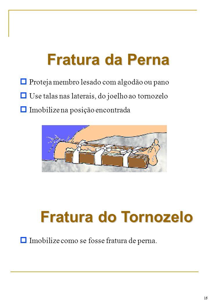 Fratura do Tornozelo p Imobilize como se fosse fratura de perna. Fratura da Perna p Proteja membro lesado com algodão ou pano p Use talas nas laterais