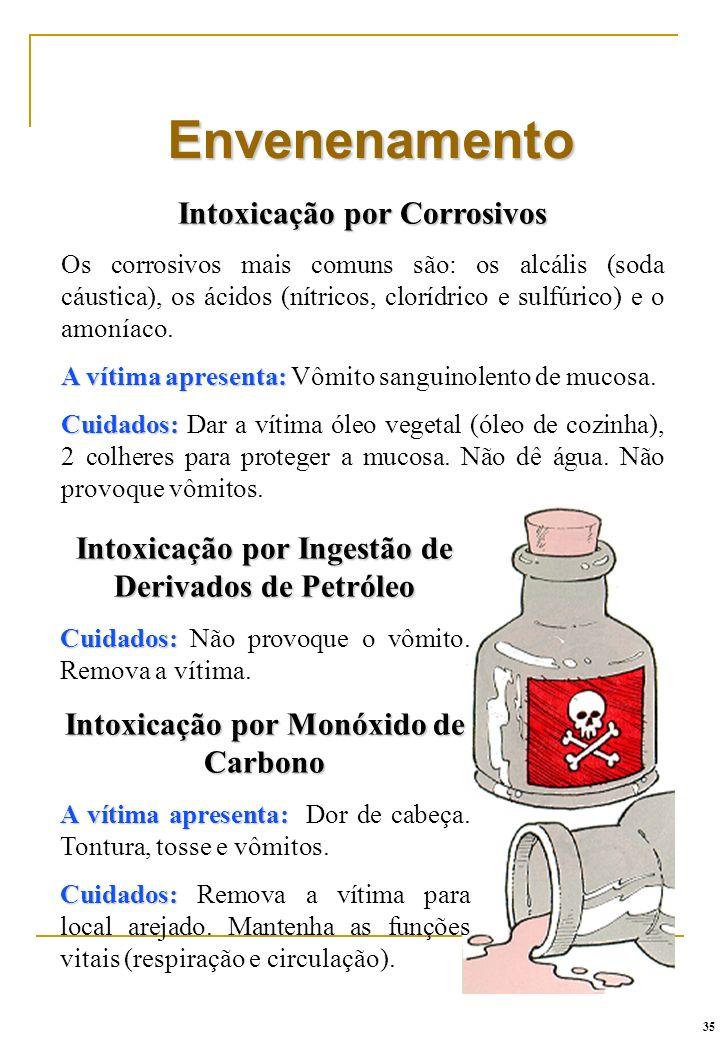 Envenenamento Intoxicação por Corrosivos Os corrosivos mais comuns são: os alcális (soda cáustica), os ácidos (nítricos, clorídrico e sulfúrico) e o a