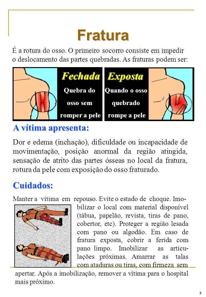 A vítima apresenta: Dor e edema (inchação), dificuldade ou incapacidade de movimentação, posição anormal da região atingida, sensação de atrito das pa