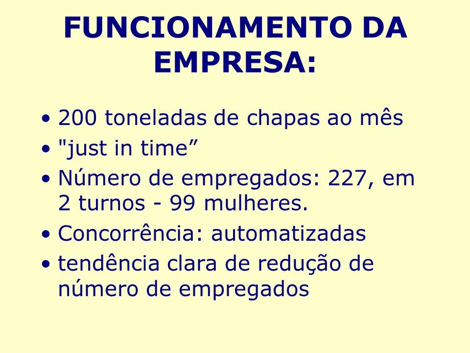 FUNCIONAMENTO DA EMPRESA: 200 toneladas de chapas ao mês