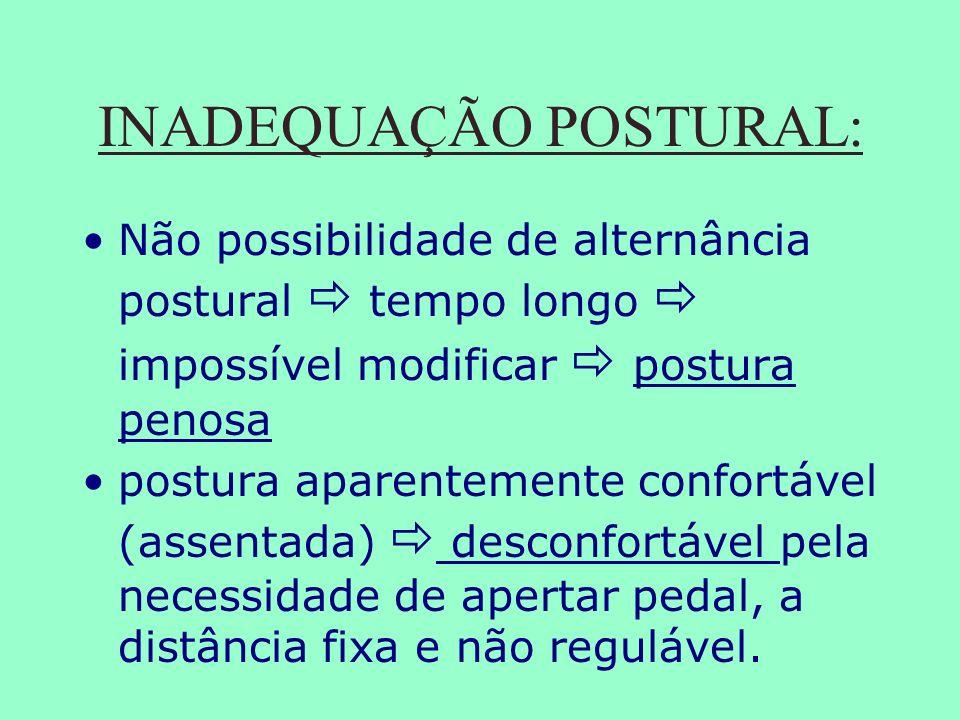 INADEQUAÇÃO POSTURAL: Não possibilidade de alternância postural tempo longo impossível modificar postura penosa postura aparentemente confortável (ass