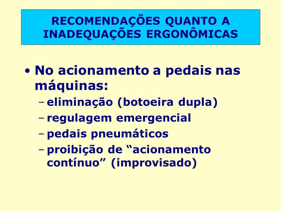 No acionamento a pedais nas máquinas: –eliminação (botoeira dupla) –regulagem emergencial –pedais pneumáticos –proibição de acionamento contínuo (impr