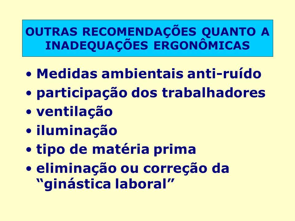 OUTRAS RECOMENDAÇÕES QUANTO A INADEQUAÇÕES ERGONÔMICAS Medidas ambientais anti-ruído participação dos trabalhadores ventilação iluminação tipo de maté