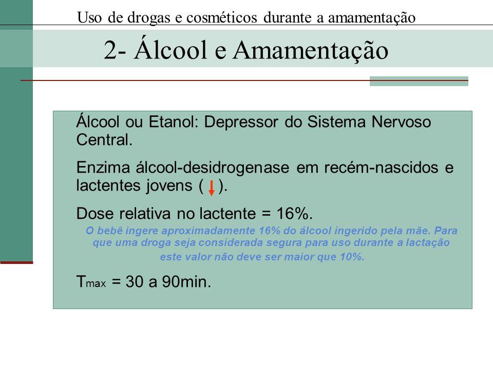 Álcool ou Etanol: Depressor do Sistema Nervoso Central. Enzima álcool-desidrogenase em recém-nascidos e lactentes jovens ( ). Dose relativa no lactent