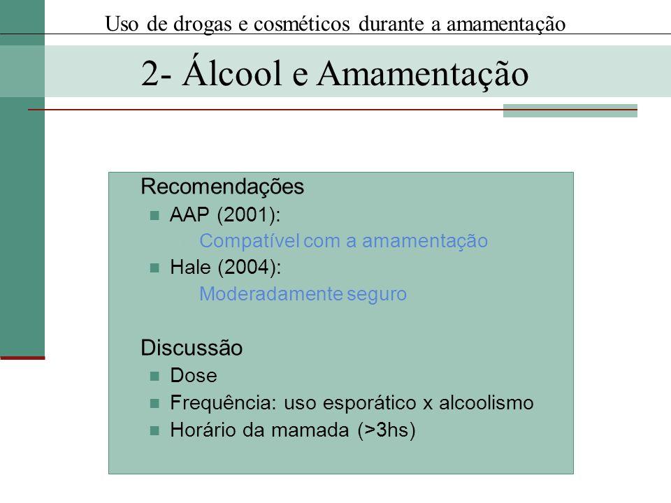 Recomendações AAP (2001): Compatível com a amamentação Hale (2004): Moderadamente seguro Discussão Dose Frequência: uso esporático x alcoolismo Horári